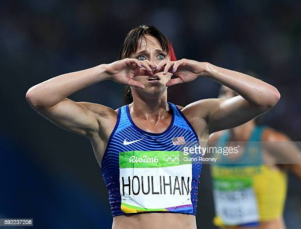Shelby Houlihan of the United States reacts after finishing the Women's 5000m Final on Day 14 of the Rio 2016 Olympic Games at the Olympic Stadium on...