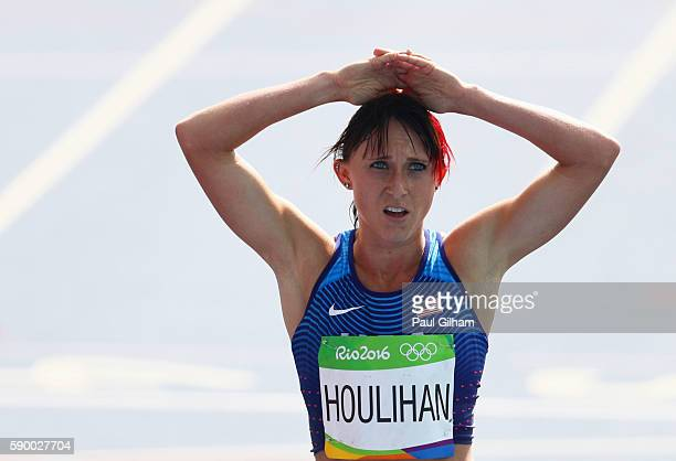 Shelby Houlihan of the United States reacts after the Women's 5000m Round 1 - Heat 1 on Day 11 of the Rio 2016 Olympic Games at the Olympic Stadium...
