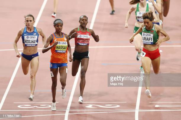 Shelby Houlihan of the United States, Sifan Hassan of the Netherlands, Faith Kipyegon of Kenya and Rababe Arafi of Morocco compete in the Women's...