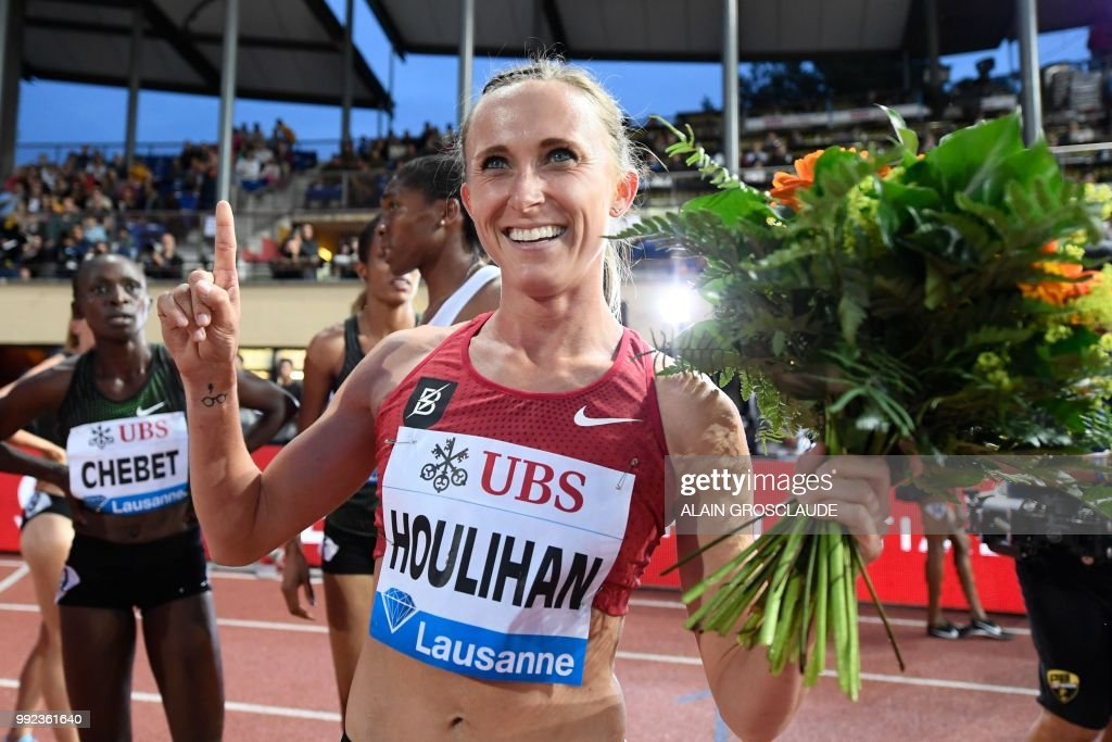 Shelby Houlihan of the US celebrates after winning the Women's 1500m race during the IAAF Diamond League athletics meeting Athletissima in Lausanne on July 5, 2018.