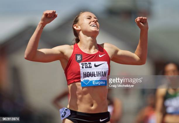 Shelby Houlihan of the USA reacts after winning the women's 1500 meters during the 2018 Prefontaine Classic at Hayward Field on May 26 2018 in Eugene...