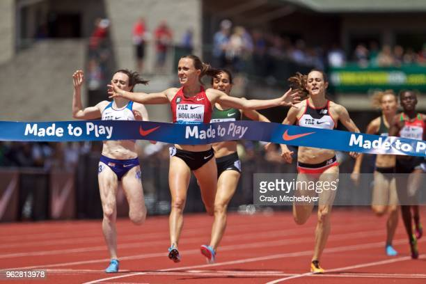 Shelby Houlihan of the USA wins the women's 1500 meters during the 2018 Prefontaine Classic at Hayward Field on May 26, 2018 in Eugene, Oregon.