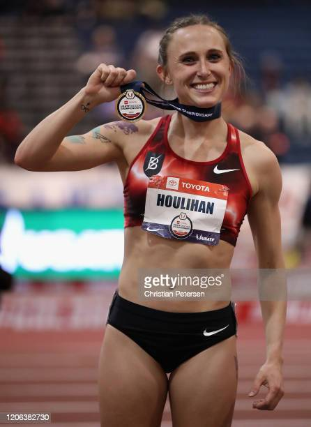 Shelby Houlihan poses with her medal after winning the Women's 3000 M during the 2020 Toyota USATF Indoor Championships at Albuquerque Convention...