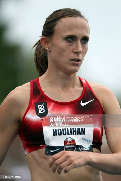 Shelby Houlihan reacts after competing in the Women's 1500 Meter Run heat during the 2019 USATF Outdoor Championships at Drake Stadium on July 25,...