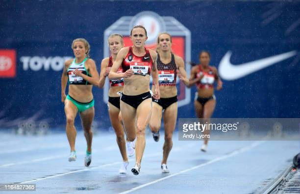 Shelby Houlihan runs to victory in the 5000 meter final during the 2019 USATF Outdoor Championships at Drake Stadium on July 28, 2019 in Des Moines,...
