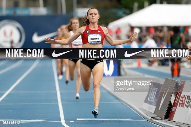 Shelby Houlihan runs to victory in the Womens 5000 Meter Final during day 4 of the 2018 USATF Outdoor Championships at Drake Stadium on June 24 2018...