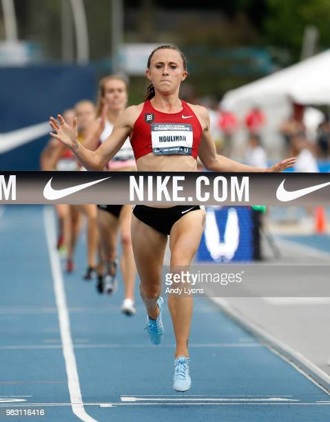 Shelby Houlihan runs to victory in the Womens 5,000 Meter Final during day 4 of the 2018 USATF Outdoor Championships at Drake Stadium on June 24,...