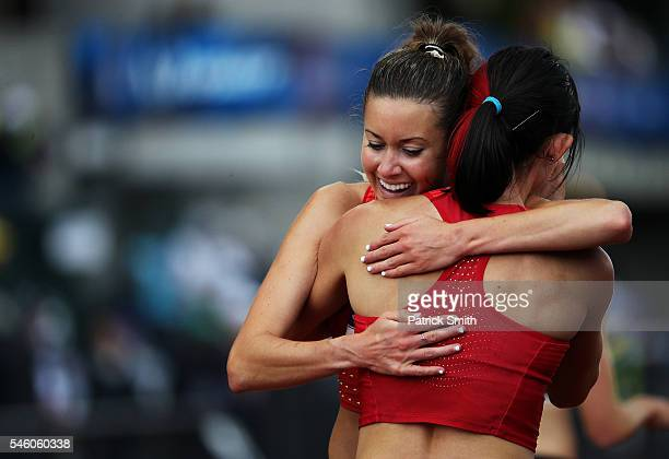 Shelby Houlihan, second place, celebrates with Emily Infeld, fourth place, after the Women's 5000 Meter Final during the 2016 U.S. Olympic Track &...