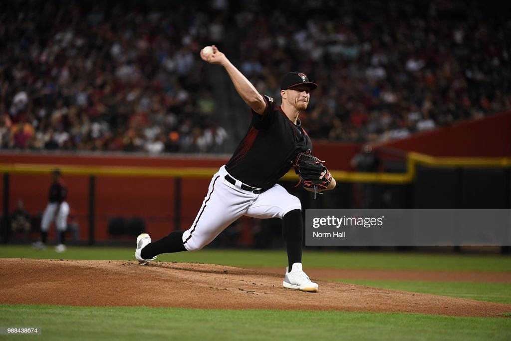 Shelby Miller #26 of the Arizona Diamondbacks delivers a first inning pitch against the San Francisco Giants at Chase Field on June 30, 2018 in Phoenix, Arizona.