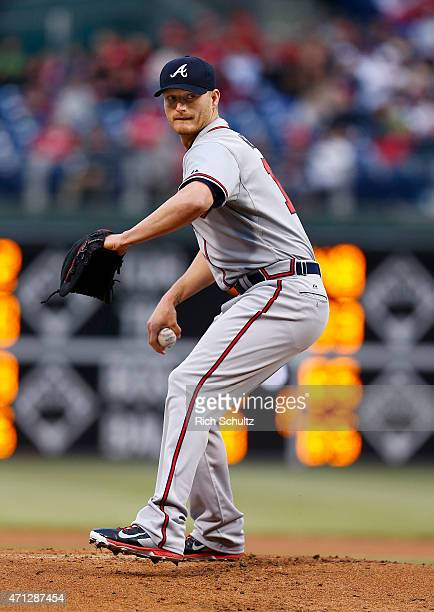Shelby Miller of the Atlanta Braves delivers a pitch against the Philadelphia Phillies during the first inning of a game at Citizens Bank Park on...