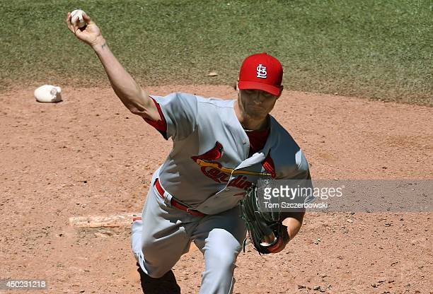 Shelby Miller of the St Louis Cardinals delivers a pitch in the fourth inning during MLB game action against the Toronto Blue Jays on June 7 2014 at...