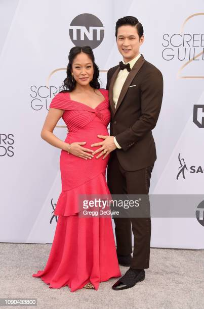 Shelby Rabara and Harry Shum Jr attend the 25th Annual Screen Actors Guild Awards at The Shrine Auditorium on January 27 2019 in Los Angeles...
