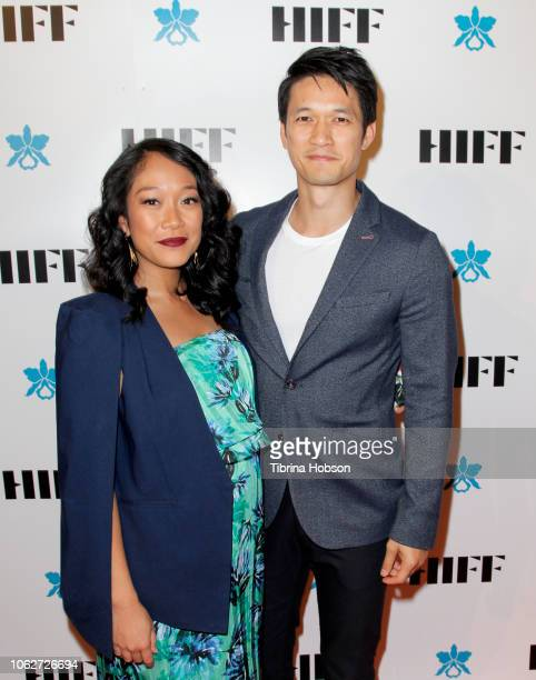 Shelby Rabara and Harry Shum Jr attend the 38th annual Hawaii International Film Festival awards gala presented by Halekulani on November 16 2018 in...