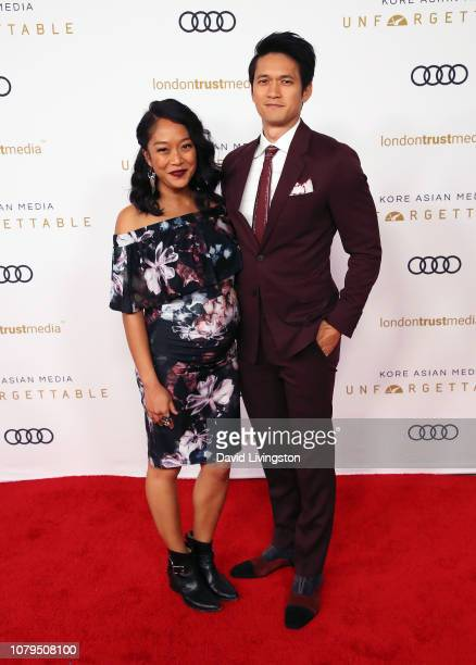 Shelby Rabara and Harry Shum Jr attend the Unforgettable Gala 2018 at The Beverly Hilton Hotel on December 08 2018 in Beverly Hills California