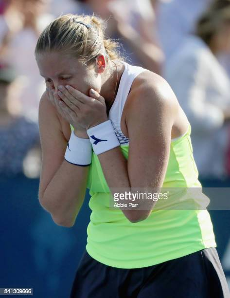 Shelby Rogers of the United States celebrates defeating Daria Gavrilova of Australia during their second round Women's Singles match on Day Four of...
