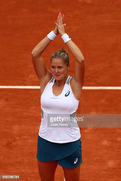 Shelby Rogers of the United States celebrates victory during the Ladies Singles fourth round match against IrinaCamelia Begu of Romania on day eight...