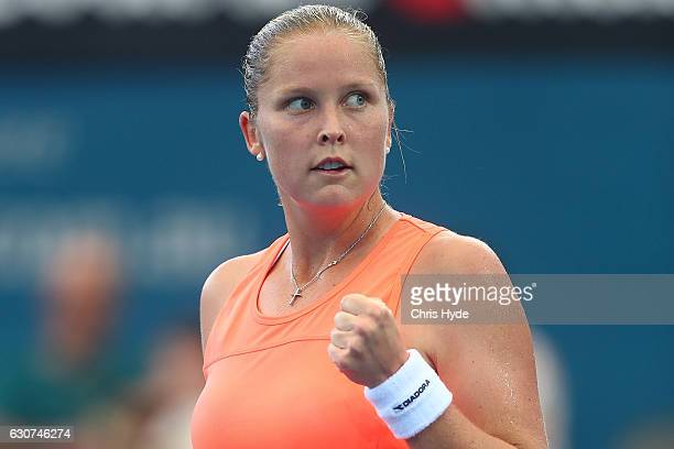 Shelby Rogers of the United States celebrates winning her first round match against Eugenie Bouchard of Canada during day one of the 2017 Brisbane...