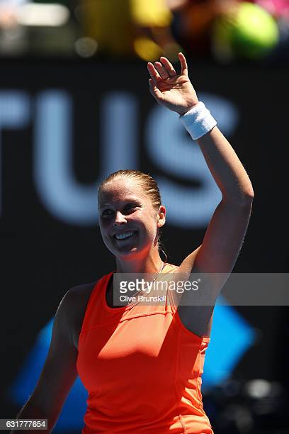 Shelby Rogers of the United States celebrates winning her first round match against Simona Halep of Romania on day one of the 2017 Australian Open at...