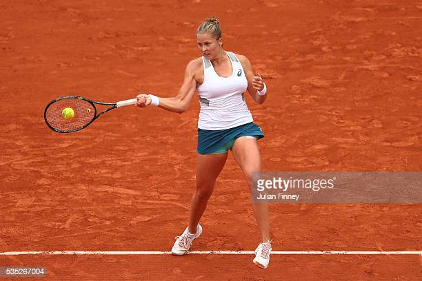 Shelby Rogers of the United States hits a forehand during the Ladies Singles fourth round match against IrinaCamelia Begu of Romania on day eight of...