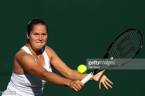 Shelby Rogers of the United States in action during her Ladies Singles first round match against Andrea Petkovic of Germany during day one of the...