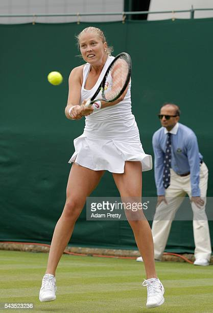 Shelby Rogers of The United States plays a backhand during the Ladies Singles first round match against Sabine Lisicki of Germany on day one of the...