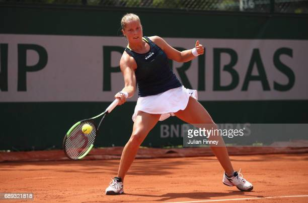Shelby Rogers of The United States plays a forehand during the ladies singles first round match against Marina Erakovic of New Zealand on day one of...