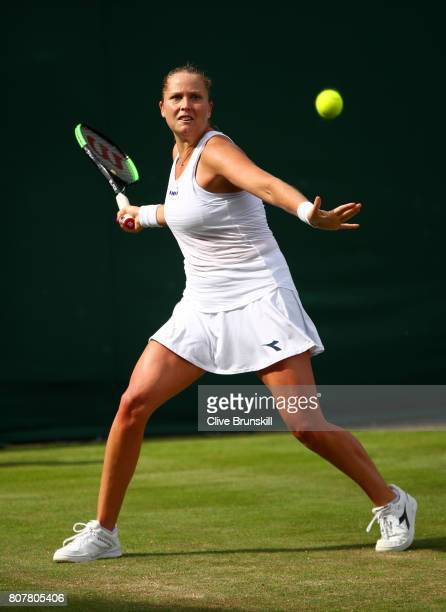Shelby Rogers of The United States plays a forehand during the Ladies Singles first round match against Julia Boserup of The United Stateson day two...