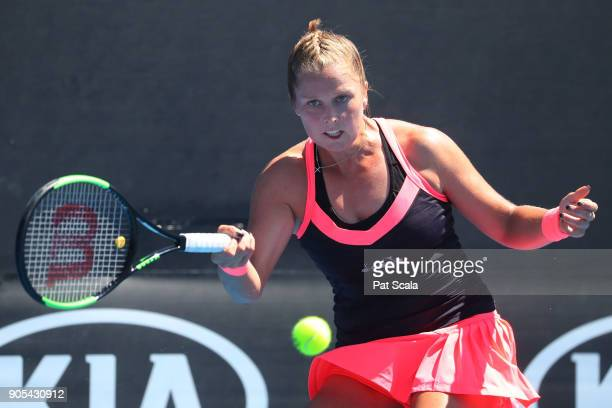 Shelby Rogers of the United States plays a forehand in her first round match against Mirjana LucicBaroni of Croatia on day two of the 2018 Australian...