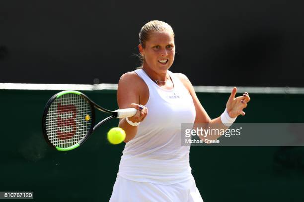 Shelby Rogers of The United States plays a plays a forehand during the Ladies Singles third round match against SAngelique Kerber of Germany on day...