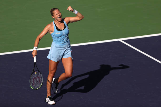 Shelby Rogers of the United States reacts after defeating Leylah FErnandez of Canada during their match on Day 9 of the BNP Paribas Open at the...