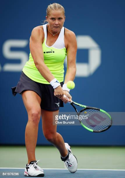 Shelby Rogers of the United States returns a shot to Elina Svitolina of the Ukraine in their third round Women's Singles match on Day Six of the 2017...