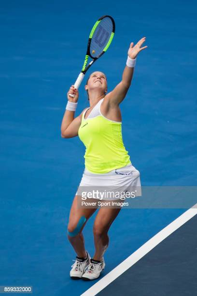 Shelby Rogers of the United States serves during her women's singles first round match of the Prudential Hong Kong Tennis Open 2017 between Jang Su...