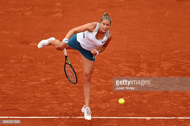 Shelby Rogers of the United States serves during the Ladies Singles fourth round match against IrinaCamelia Begu of Romania on day eight of the 2016...