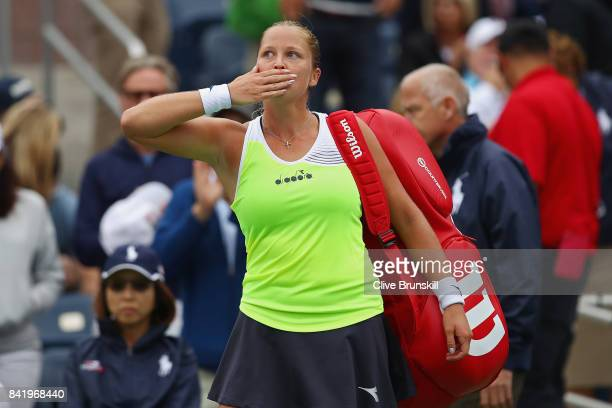 Shelby Rogers of the United States waves to the fans after being defeated by Elina Svitolina of the Ukraine in their third round Women's Singles...