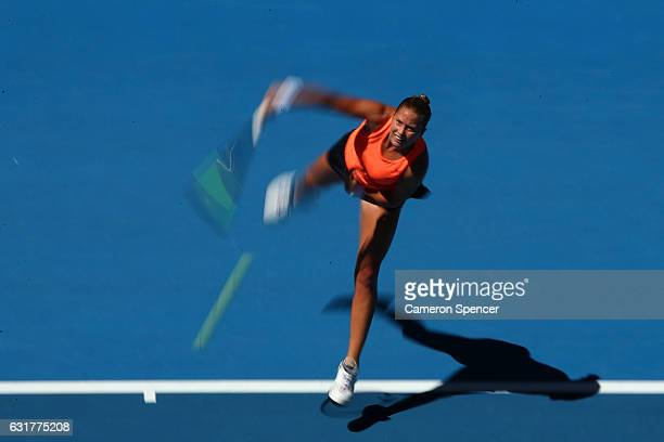Shelby Rogers of the Uniuted States plays a forehand in her first round match against Simona Halep of Romania on day one of the 2017 Australian Open...