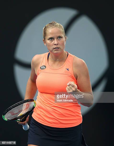 Shelby Rogers of the USA celebrates winning a point in her second round match against Lara Arruabarrena of Spain during day two of the 2017 Hobart...
