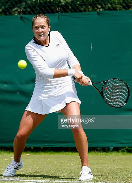 Shelby Rogers of the USA in action during her first round qualifying match against Mandy Minella of Luxembourg on day two of the Wimbledon...
