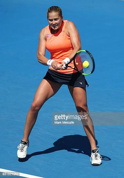 Shelby Rogers of the USA plays a backhand in her quarter final match against Lesia Tsurenko of Ukraine during day three of the 2017 Hobart...