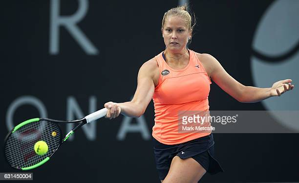 Shelby Rogers of the USA plays a forehand in her second round match against Lara Arruabarrena of Spain during day two of the 2017 Hobart...