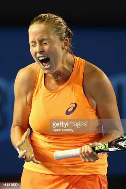 Shelby Rogers of the USA reacts after missing a point in her first round match against Ajla Tomljanovic of Australia during day two of the 2015...