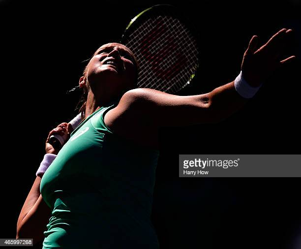 Shelby Rogers serves in her match against Kirsten Flipkens of Belgium during the BNP Parisbas Open at the Indian Wells Tennis Garden on March 12 2015...