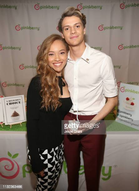 Shelby Simmons and Jace Norman attend the Pinkberry green room backstage at Nickelodeon's 2019 Kids' Choice on March 23 2019 in Los Angeles California