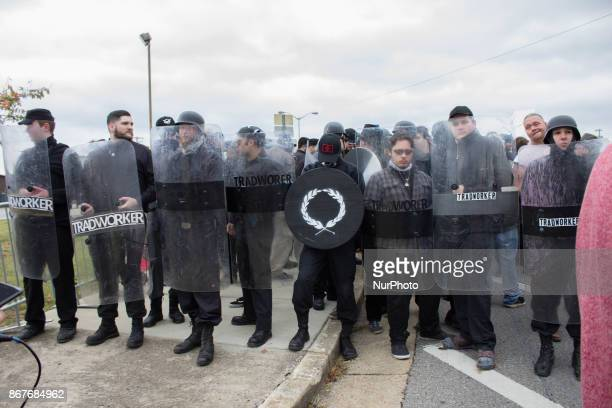 Shelbyville October 28 2017 Members of the traditionalist workers party line up with shields during a White Lives Matter rally in Shelbyville...