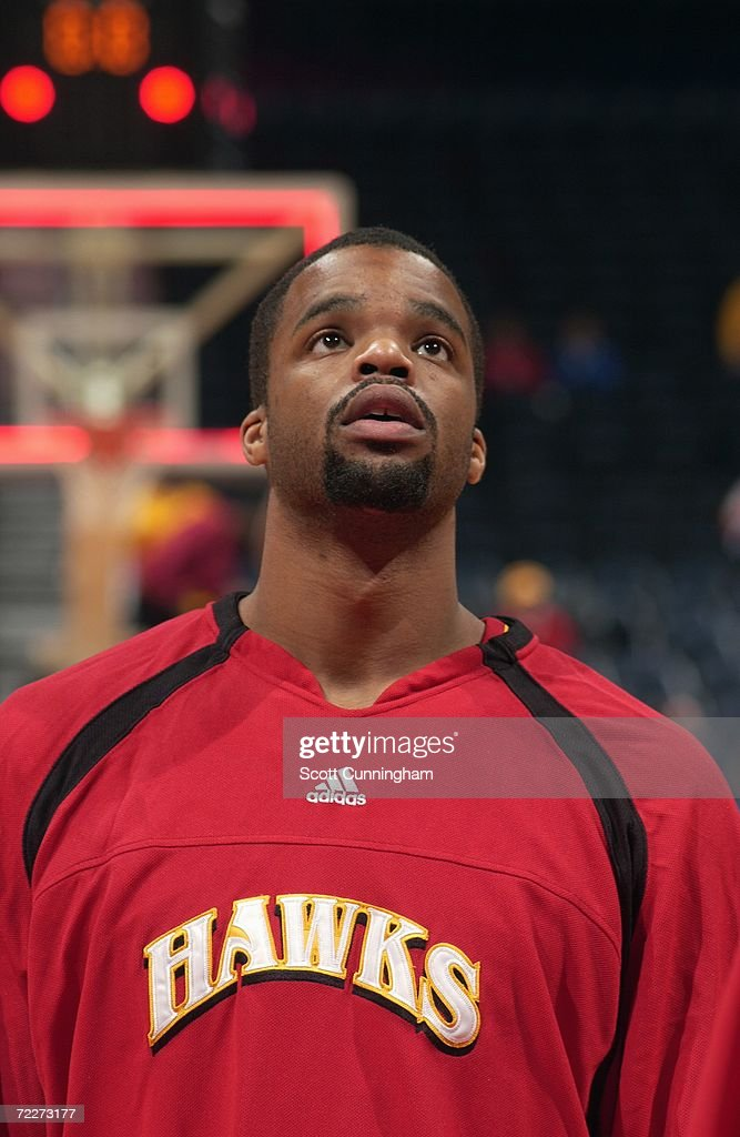 Shelden Williams of the Atlanta Hawks looks on during a preseason game against the Washington Wizards at Philips Arena on October 23, 2006 in Atlanta, Georgia. The Wizards won 110-105.