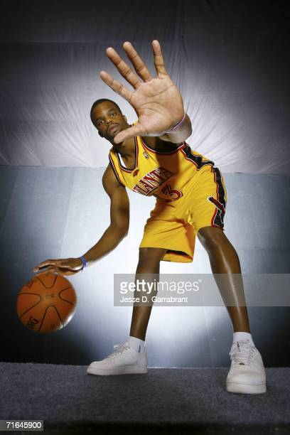 Shelden Williams of the Atlanta Hawks poses for a portrait during the 2006 NBA Rookie Photo Shoot on August 14, 2006 at the MSG Training Facility in...