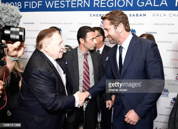 Sheldon Adelson and Gerard Butler attend Friends of The Israel Defense Forces Western Region Gala at The Beverly Hilton Hotel on November 1 2018 in...