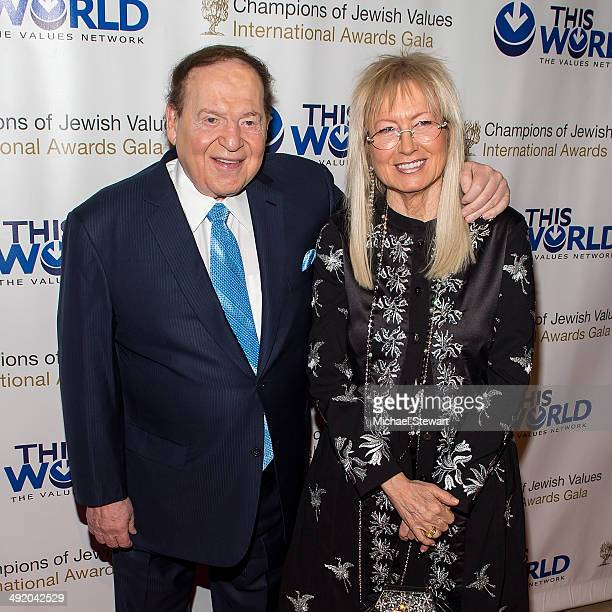 Sheldon Adelson and Miriam Ochsorn attend 2014 Champions Of Jewish Values International Gala at Cipriani 42nd Street on May 18 2014 in New York City