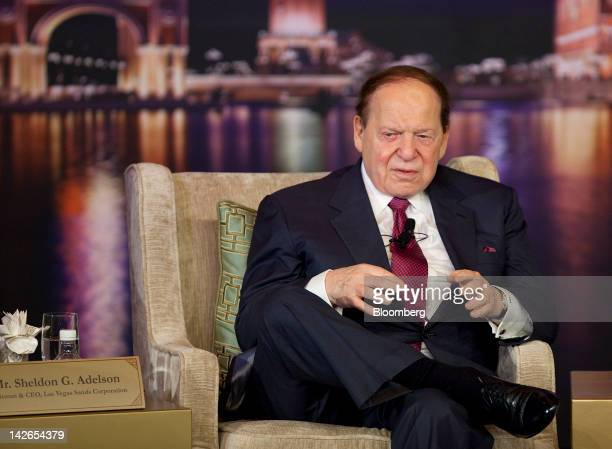 Sheldon Adelson chairman and chief executive officer of Las Vegas Sands Corp speaks at a news conference during the opening of the Sands Cotai...