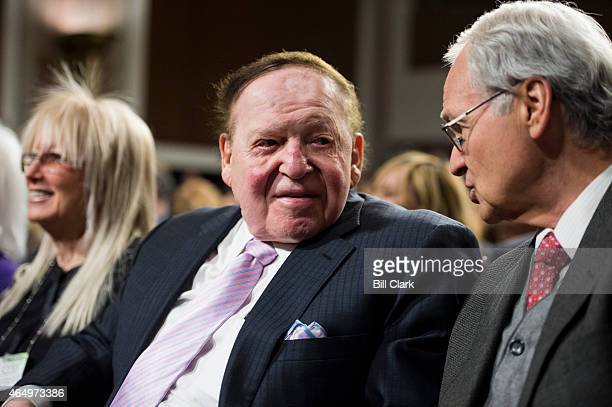 Sheldon Adelson chairman and chief executive officer of the Las Vegas Sands Corporation attends the forum featuring Nobel Peace laureate Elie Wiesel...