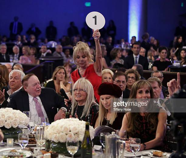 Sheldon Adelson Miriam Adelson singer Barbra Streisand and guests attend the Friends Of The Israel Defense Forces 2014 Western Region Gala at The...